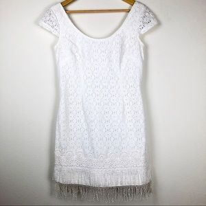 Lilly Pulitzer lace shift dress with fringe